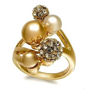 🆕INC Pearl & Crystal Gold-Tone Statement Ring
